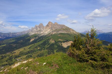 View of Catinaccio (Rosengarten) massif from the Latemar mountain. Dolomites,