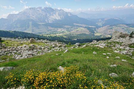 view of Gruppo del Catinaccio (Rosengarten Group) Dolomites, Hirzelweg 版權商用圖片