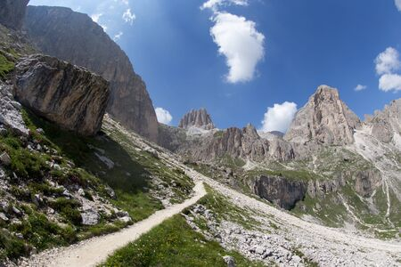 Mugoni's small mountain group Cima Sud (South summit) and Zigolade pass as seen f in the middle of Catinaccio/Rosengarten massif, Dolomites, Sout Tyrol, Standard-Bild