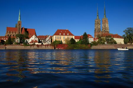 Wroclaw at Odra river with cathedral on the background. Stock Photo