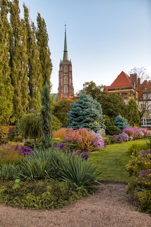 Botanical Garden in Wroclaw, Poland. The garden was built from 1811 to 1816 on the Cathedral Island (Ostrow Tumski), the oldest part of the city.