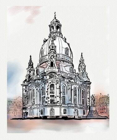 church of our lady - Dresden, Germany. Sketch of the famous church Frauenkirche