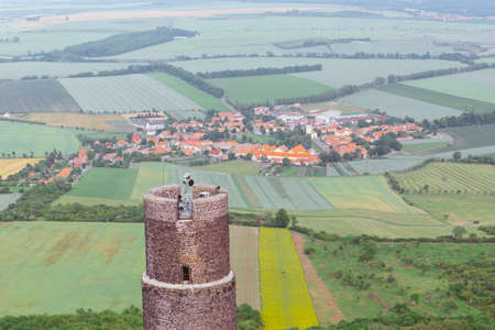 medieval castle Hazmburk (Klapy) nearby Prague in Czech Republic. Central Europe 스톡 콘텐츠