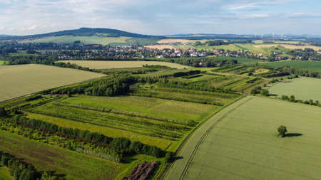 air view of Leutersdorf and the mountains nearby in saxony. Stock Photo