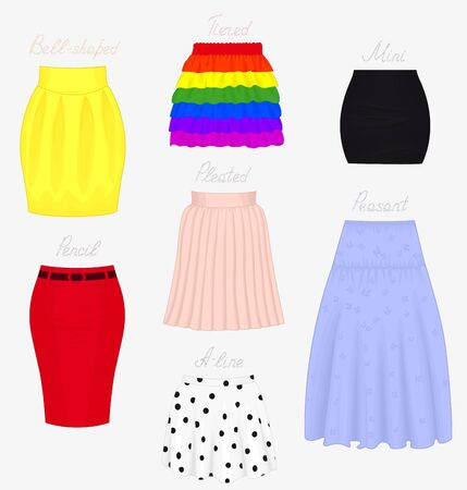 pied: Set of different styles of skirts isolated on white background