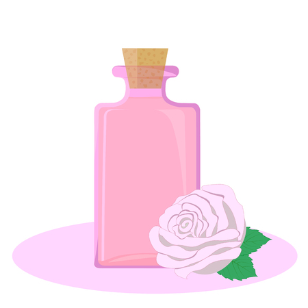 essential oil: Glass bottle full of rose essential oil