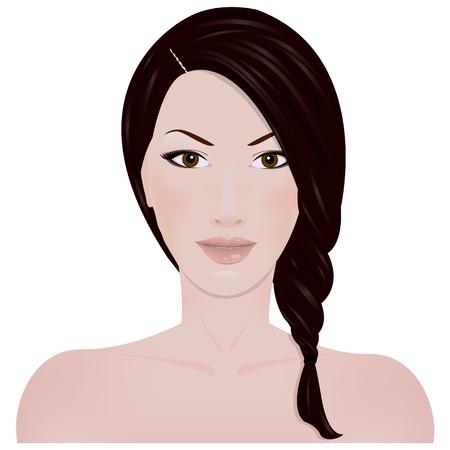mujeres morenas: Cara de una chica con el pelo trenzado aislado en el fondo blanco
