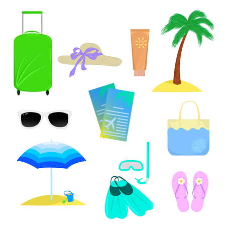 suntan cream: Objects that are associated with the summer vacation isolated on white background Illustration