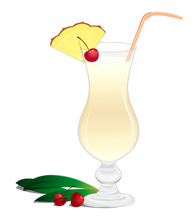 dewy: Cocktail with a slice of pineapple and a cherry on a white background Illustration
