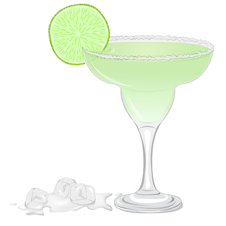 dewy: Margarita cocktail with a slice of lime isolated on white background