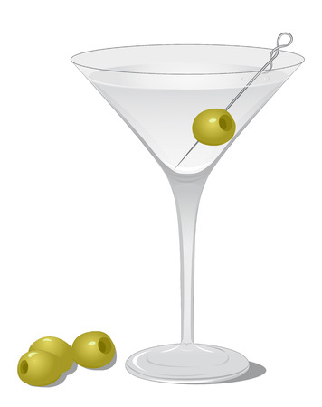 mixed drink: Cocktail Dry Martini isolated on white background