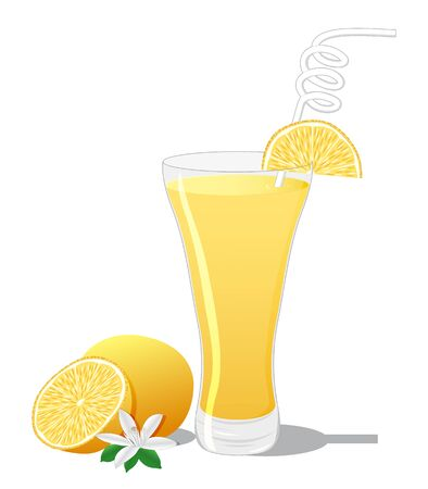 dewy: Screwdriver cocktail with orange slice isolated on white background Illustration