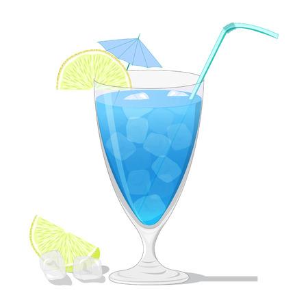 blue lagoon: Blue Lagoon cocktail con una fettina di limone isolato su sfondo bianco
