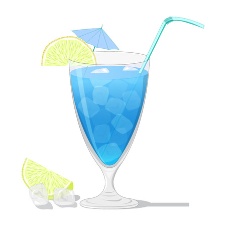 dewy: Blue Lagoon cocktail with a lemon slice isolated on white background Illustration