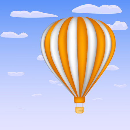 avocation: Balloon on the sky background with white and orange stripes Illustration