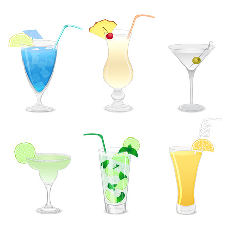dewy: Set of different cocktails isolated on white background Illustration
