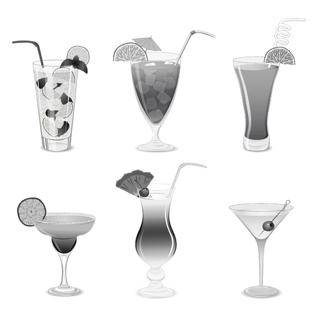 colada: Set of grayscale cocktails isolated on white background Illustration