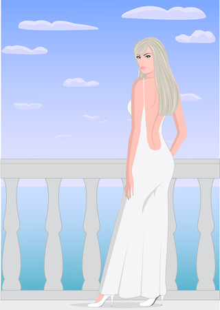 white dress: The girl in a white dress on a balcony on the sea background