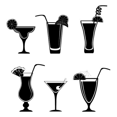 dewy: Set of different black cocktails isolated on white background
