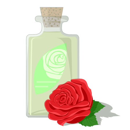 Attar: Red rose and a bottle filled with attar