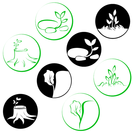 lust for life: Set logos revival and lust for life of plants example Illustration
