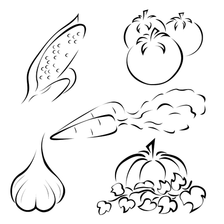 depicted: Set of different vegetables icons depicted simplistically Illustration