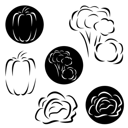 garden stuff: A small set of logos vegetables - broccoli, peppers and cabbage