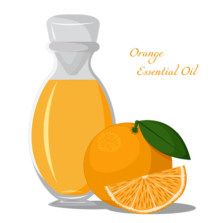 essential oil: Bottle of orange essential oil with fruits on a background