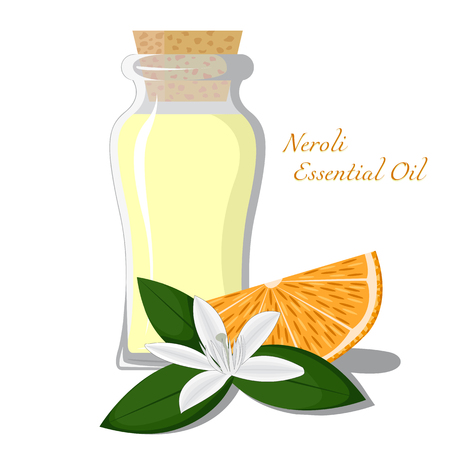 essential oil: Small bottle with essential oil of orange blossom