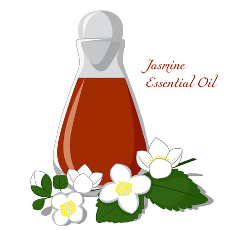 redolence: Bottle of essential oil with jasmine flower on a background