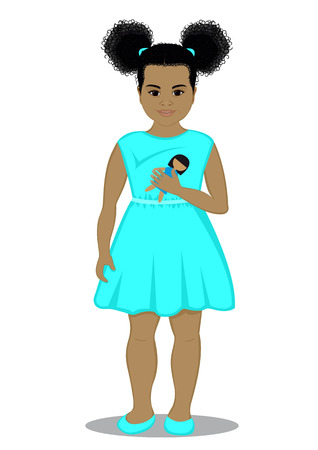 trusting: Little girl with a doll in her hand, dressed in a turquoise dress Illustration