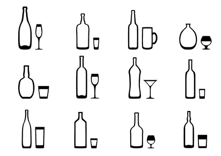 highball: Set of black and white icons of the bottle with the appropriate glasses Illustration