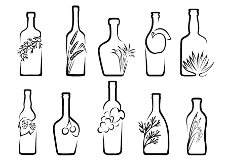 produced: Icons of alcohol from fruit or plants from which it is produced