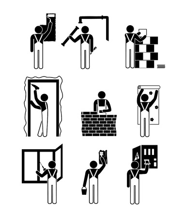 reconstruct: Set of black and white icons of repair work in the house Illustration