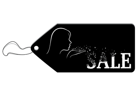 frippery: Black label depicting a girl blows away tinsel from her palm and they add up to a word Sale Illustration