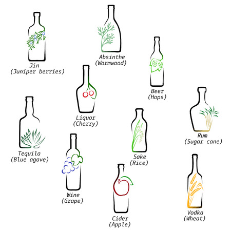 rice wine: Icons set raw material for the production of alcoholic beverages Illustration