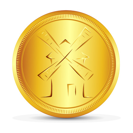 Gold coin with the image of the symbolic windmill