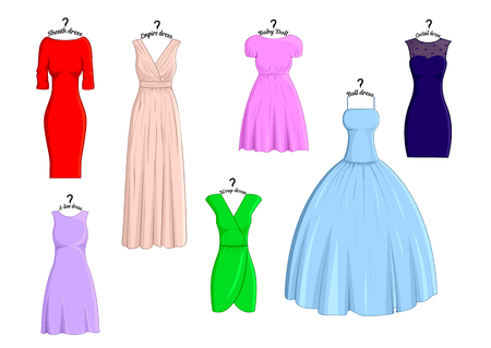 choosing clothes: Set of different types of dresses with names that are stylized in the hanger