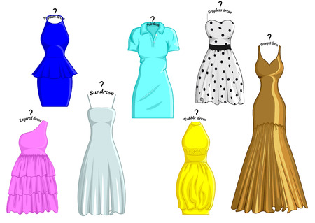 strapless: Set of different styles of dresses with names that are stylized in the hanger Illustration
