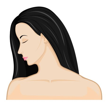Girl brunette with bare shoulders lowered her head and closed her eyes on the white background Vettoriali