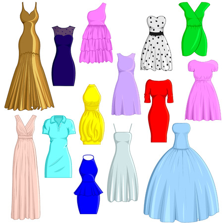 A set of dresses in different styles
