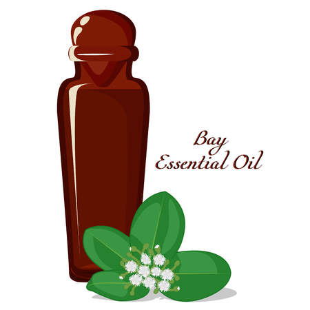 A bottle filled by essential oil Bay