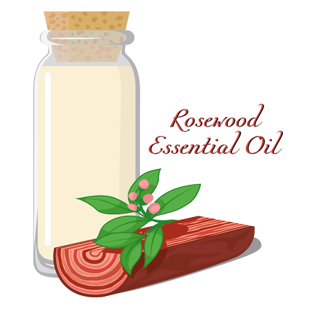 A small bottle filled by essential oils of rosewood Illustration