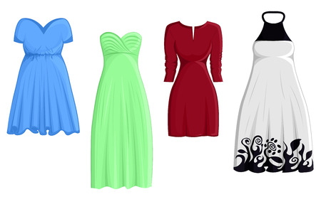 A set of four different A line dresses