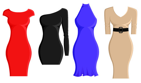 Set of sheath dresses in different styles and color Illustration