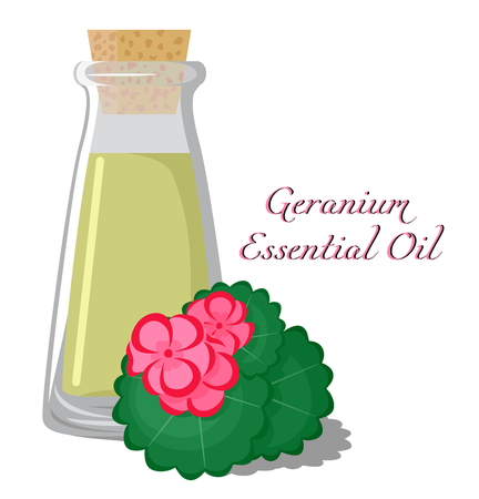 bung: Bottle with essential oil of geranium with a flower on the background