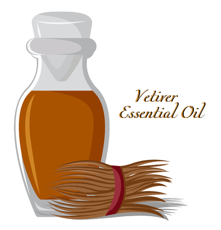Bottle with essential oil of vetiver with a bunch on the background