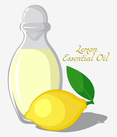 Bottle with essential oil of lemon with fruit on background Illustration