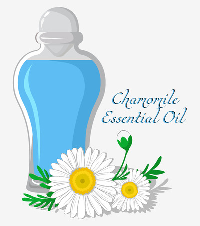 bung: Bottle with essential oil of chamomile with a flower on the background