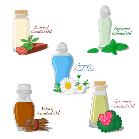 rosewood: A set of essential oils: Chamomile, Mint, Vetiver, Rosewood, Geranium